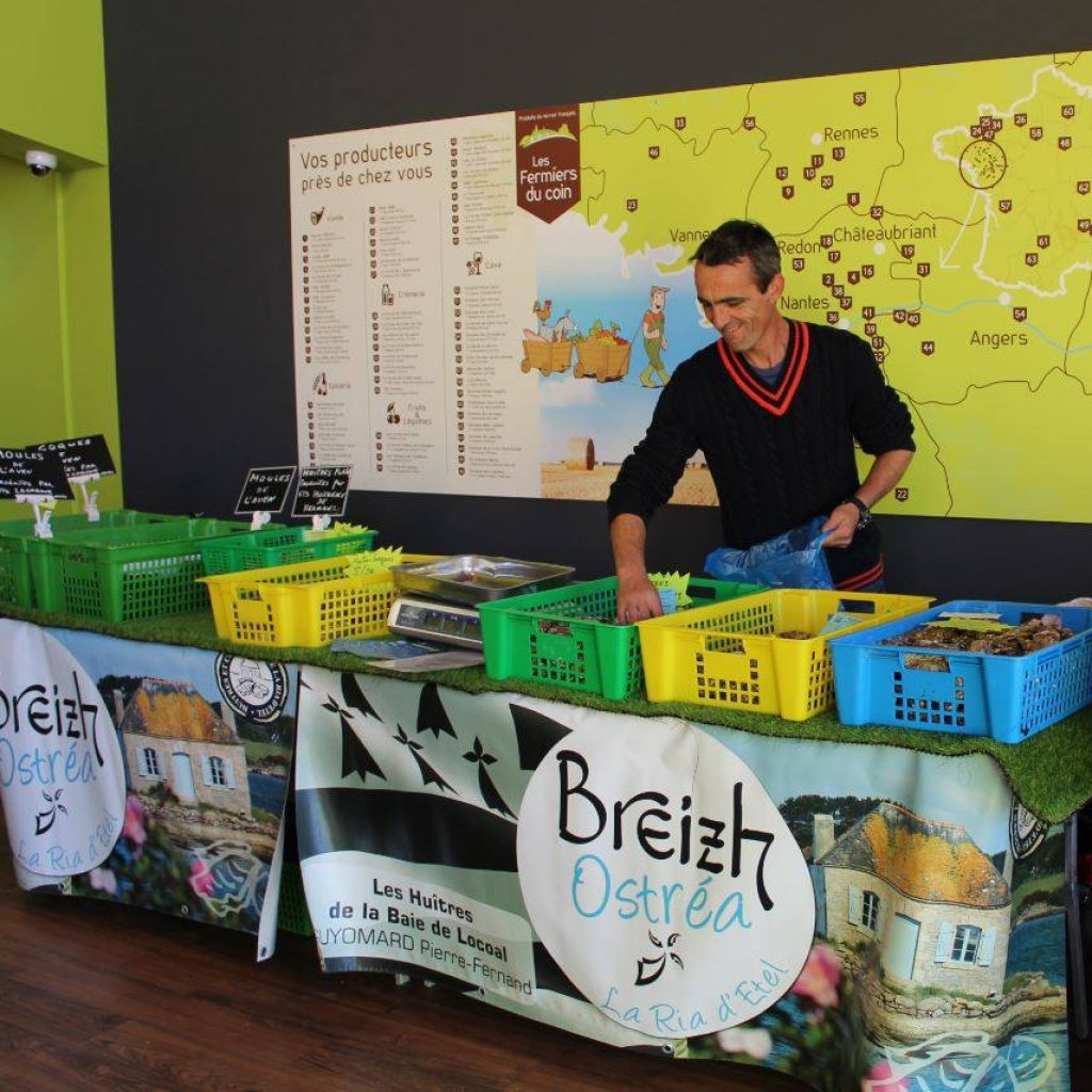 Vente huîtres au magasin Les Fermiers du coin Nantes
